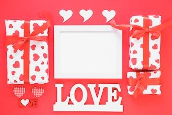 Love inscription with blank frame