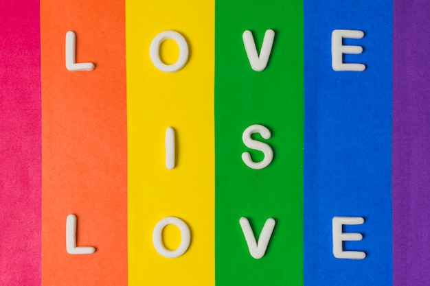 Love is love words and lgbt flag
