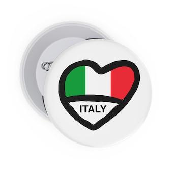 Концепция любви италии. белые значки булавки с сердцем, флагом италии и подписать на белом фоне. 3d рендеринг