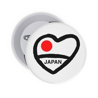 Любовь концепции японии. белые значки булавки с сердцем, флаг японии и знак на белом фоне. 3d рендеринг