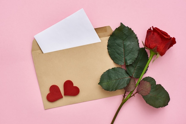 Love letter note paper with envelope red rose and decorative hearts