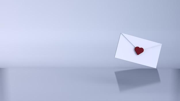 Любовное письмо, концепция валентина. 3d визуализация