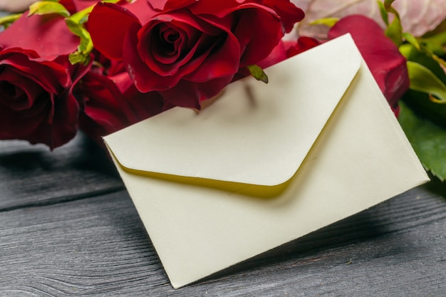 Love letter valentine rose and in envelope, decoration for valentines day, copy space for text
