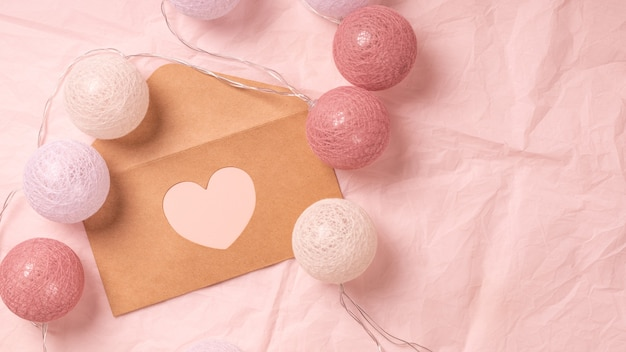 Love letter for valentine's day on pink background