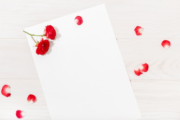 Love letter with red rose and petals on white wooden table.