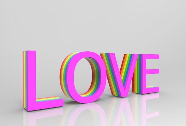 Love letter words with lgbtq rainbow pattern color as texture on gray background.