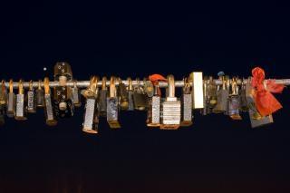 Love locks, bridge