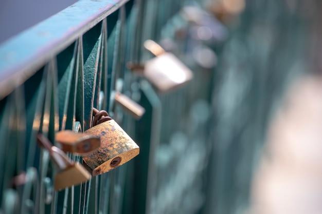 Love locks left on a bridge