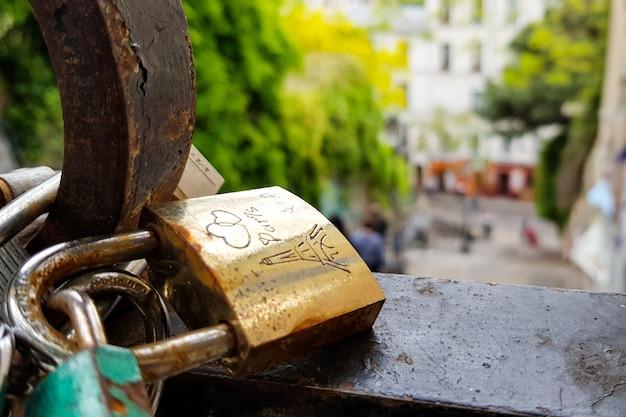Love locks padlocks hanging in bridge, paris, france