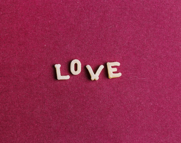 Love made with pasta letters