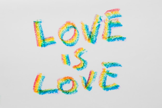 Love message about love in lgbt colored letters