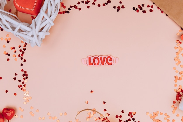 Love message, gift , concept of valentine's day and dating concept, copyspace, topview.