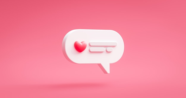 Значок сообщения любви и розовое сердце онлайн-уведомление чата социальных знакомств на романтическом фоне счастливого валентина с символом отношения цитаты приветствия. 3d-рендеринг.