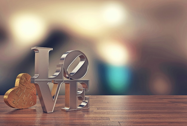 Love message with heart jigsaw and blur background for valentine's day, 3d rendering