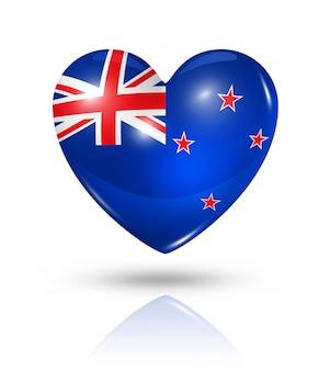 Love new zealand heart flag icon