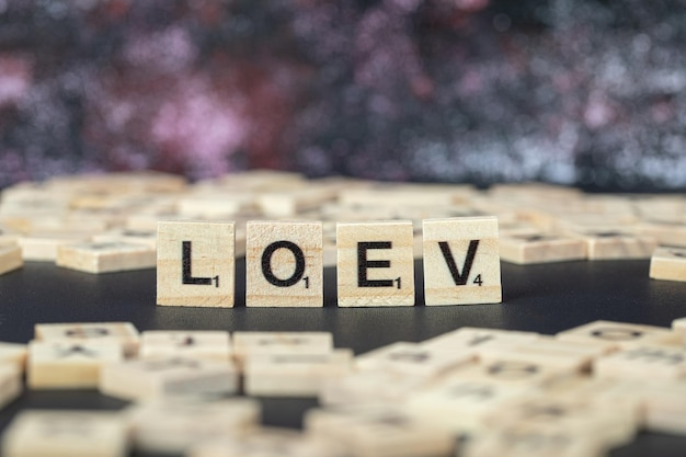 水平方向に木製のダイスに黒い文字で愛またはloevの象徴的な書き込み。高品質の写真