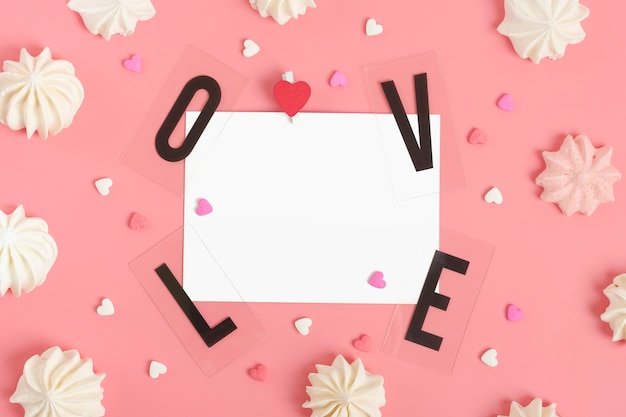 Love and paper with candies
