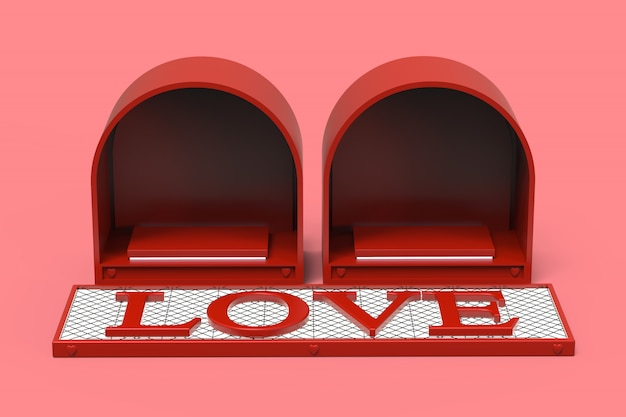 Love red podium space for products cosmetic or gifts rings on valentine day celebration holiday festival with love text 3d on emissive white light, 3d illustration.