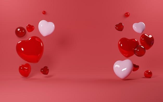 Love shape balloon valentine's day background - 3d rendering