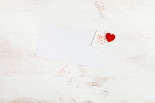 Love stamp with white paper for message