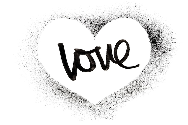 Love - stenciled heart isolated on the white background - raster illustration