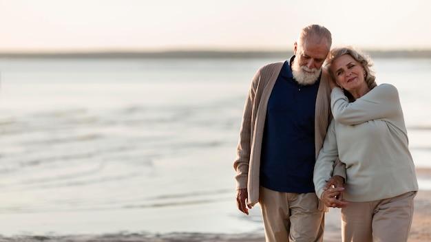 Love story senior couple medium shot