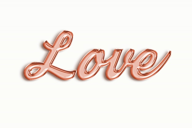 Love text of pink gold ballon foil on white
