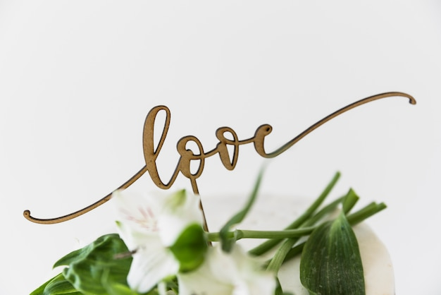 Love text with beautiful flowers against white background