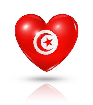 Love tunisia heart flag icon