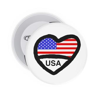 Любовь концепции сша. белые значки булавки с сердцем, флагом сша и подписать на белом фоне. 3d рендеринг