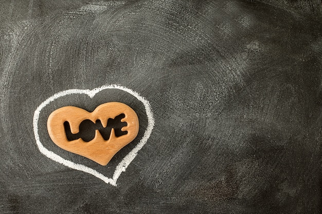 Love valentine heart on the chalkboard. valentine day
