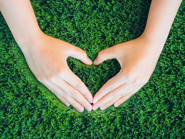 Love and valentine's day concept. woman hand in shape of heart on green grass background.