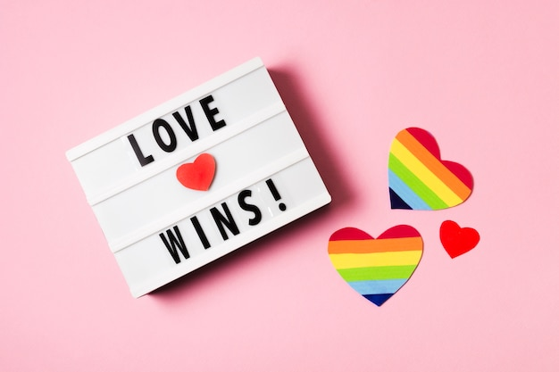 Love wins concept with hearts in rainbow colors