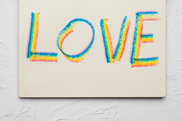 Love word drawn bright lines in lgbt colors