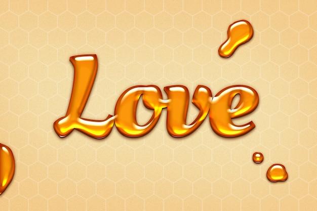 Love word in embossed style