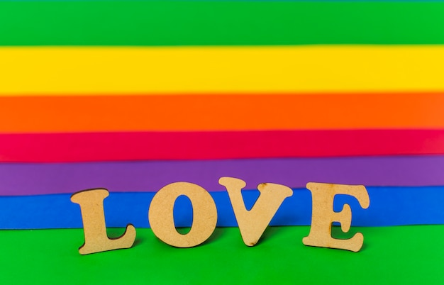 Love word and lgbt flag