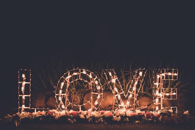 Love word  light bulbs.