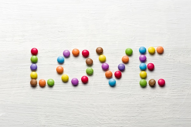Love word with candies