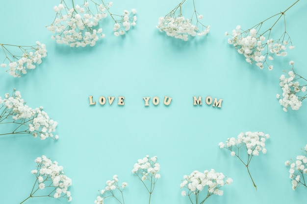 Love you mom inscription in frame from flowers branches