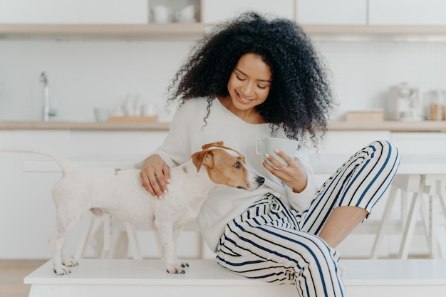 Lovely african american woman has coffee break petting pedigree dog sits on comfortable white bench against kitchen background