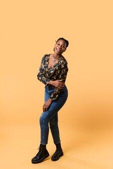 Lovely afroamerican woman full shot