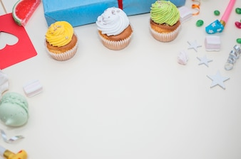 Lovely birthday concept with colorful party elements