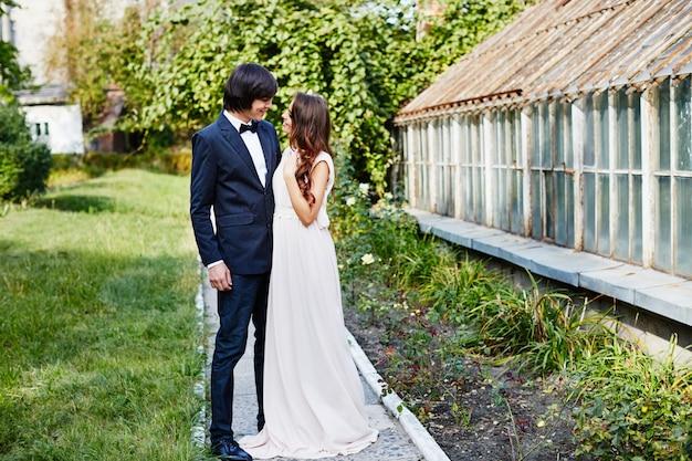 公園の背景、結婚式の写真、美しいカップル、結婚式の日、肖像画で互いに近くに立っている素敵な花嫁と花婿。