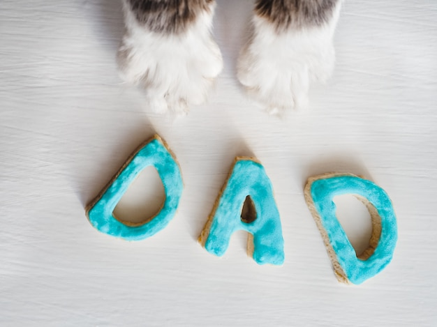 Lovely cat paws and the word dad
