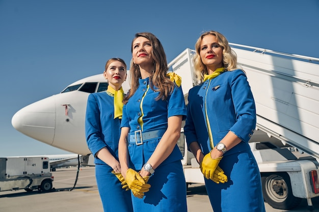 Lovely caucasian female flight attendants in stylish uniforms looking into the distance