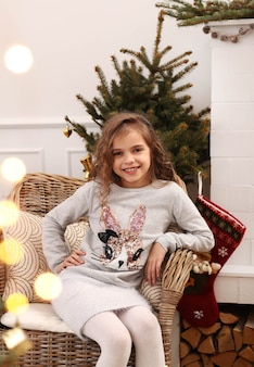 Lovely child at home at christmas