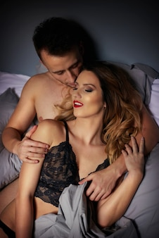 Lovely couple in bed