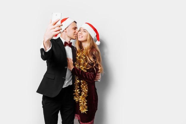Lovely couple celebrating christmas