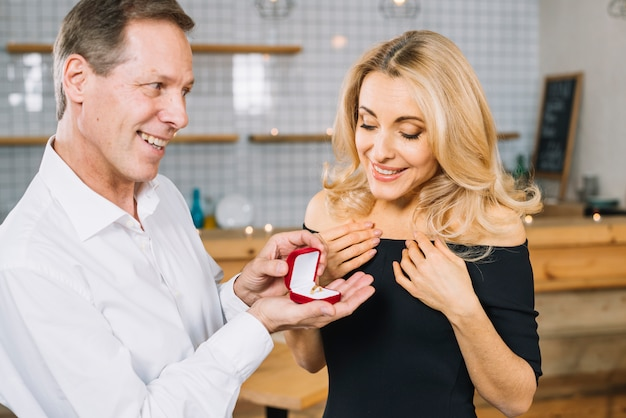 Lovely couple getting engaged