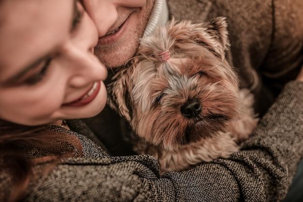 Милая собака. мужчина и женщина обнимают йоркширского терьера